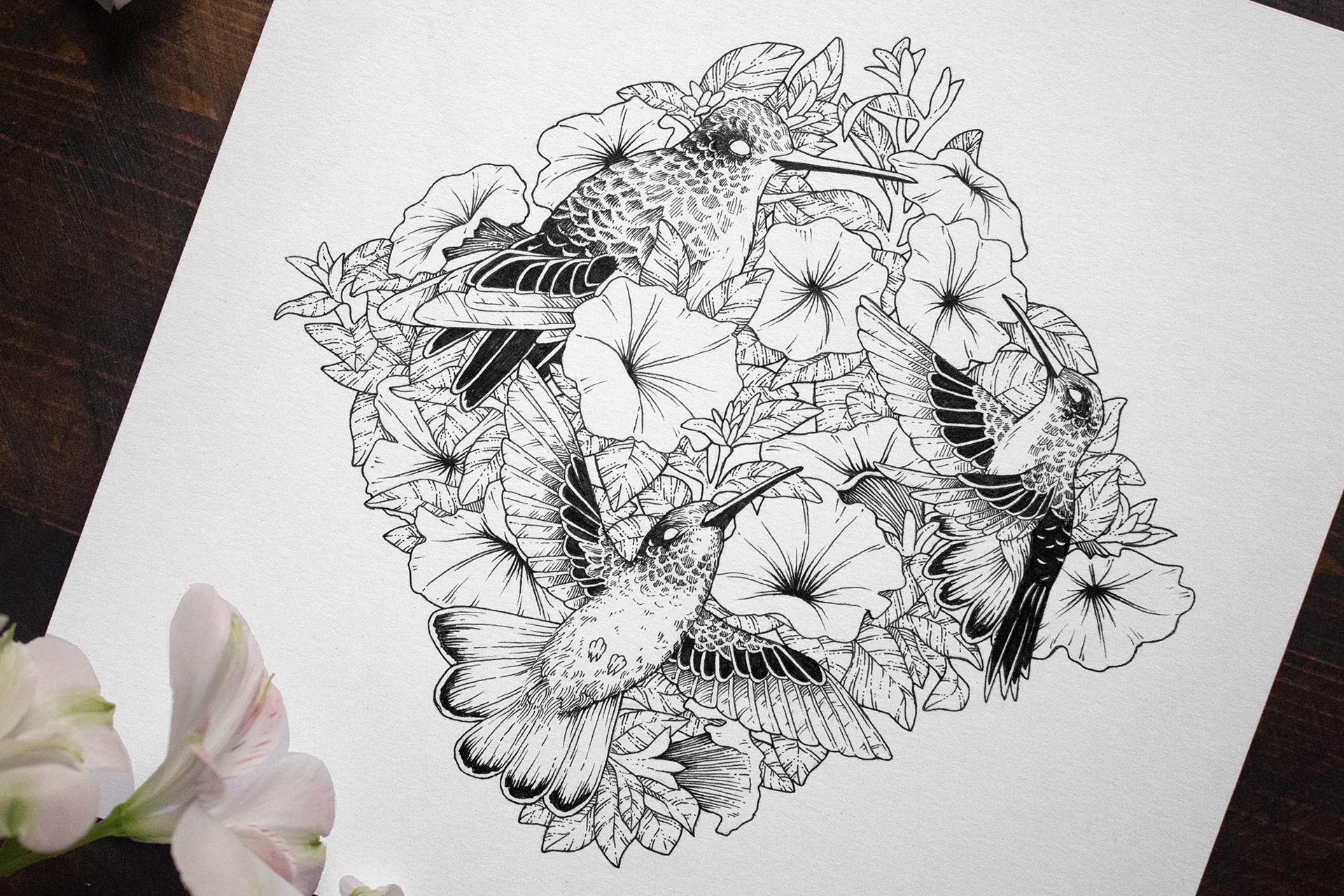 Jenn Sneary Illustration, Flitter, Pen and Ink drawings