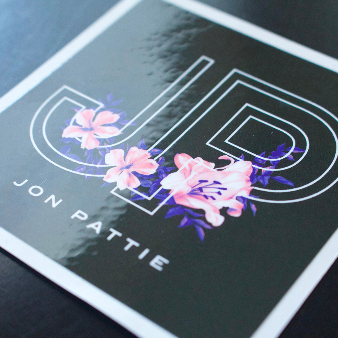 Jennifer Sneary, graphic design, illustration, Jon Pattie, musician sticker freelance commission
