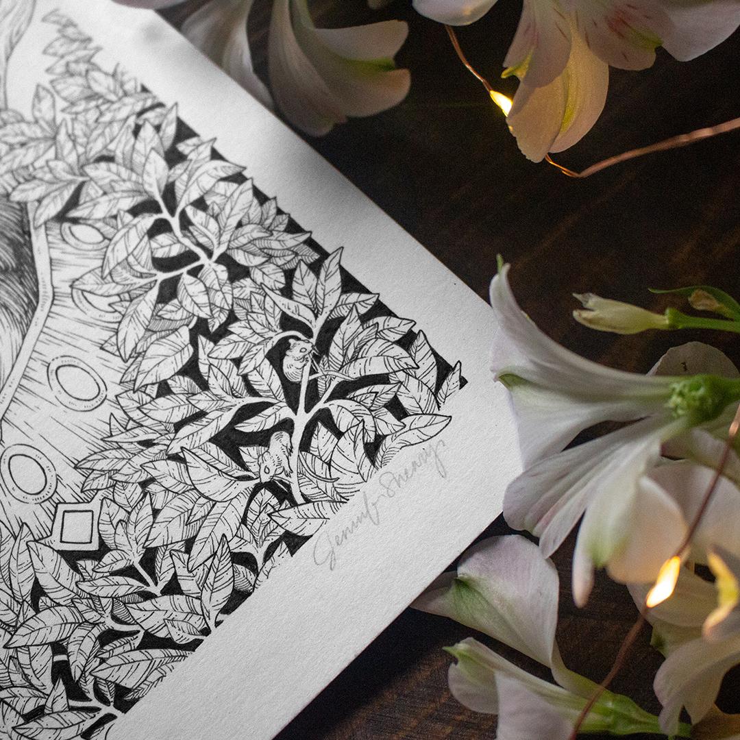 Jennifer Sneary, illustration, fantasy art commissions, freelance pen and ink illustrator in Austin Texas