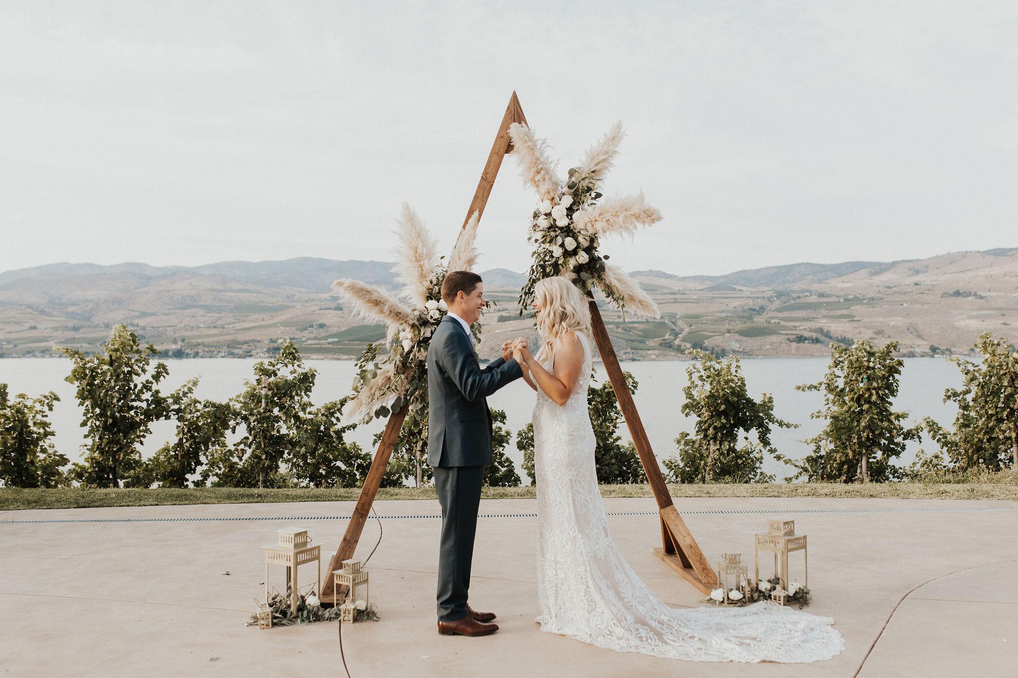 Pampas grass wedding installation