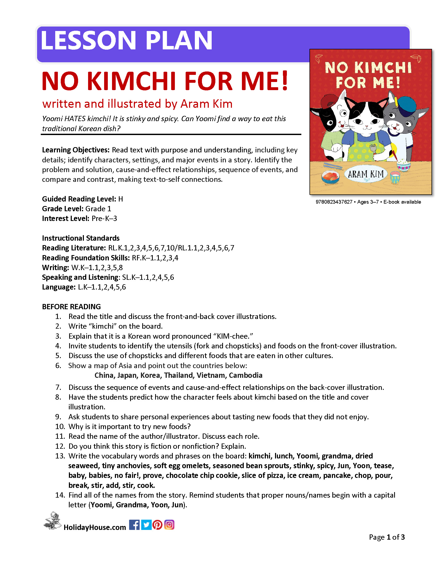 Download the official Lesson Plan for NO KIMCHI FOR ME!