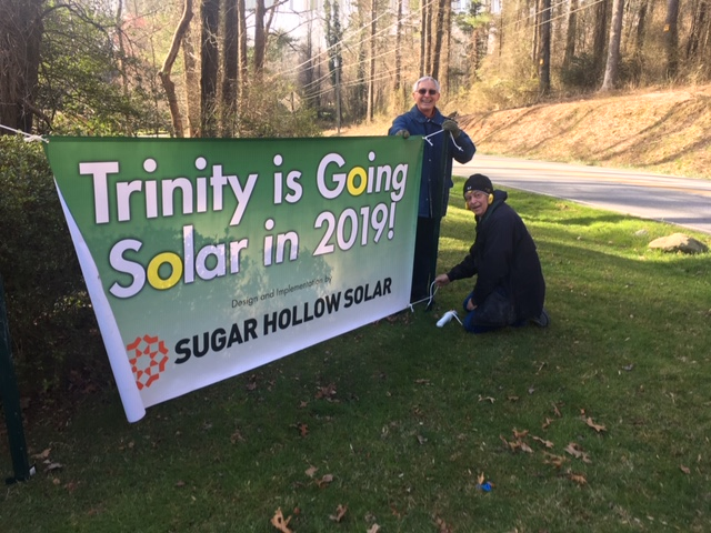 "We made a banner together! ""Trinity is Going Solar in 2019!"""