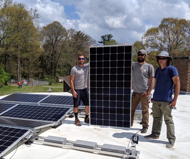 Some of Team Sugar Hollow installing Trinity's Panels: Matt Buswell, Charlie Nimitz, Cameron Hatfield.