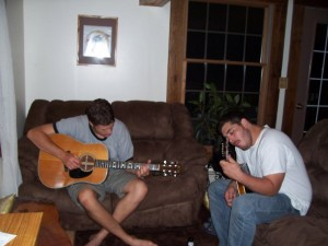 Jesse and Wade at Jesse's house, the first meeting and jam that sparked the idea for Colebrook Road