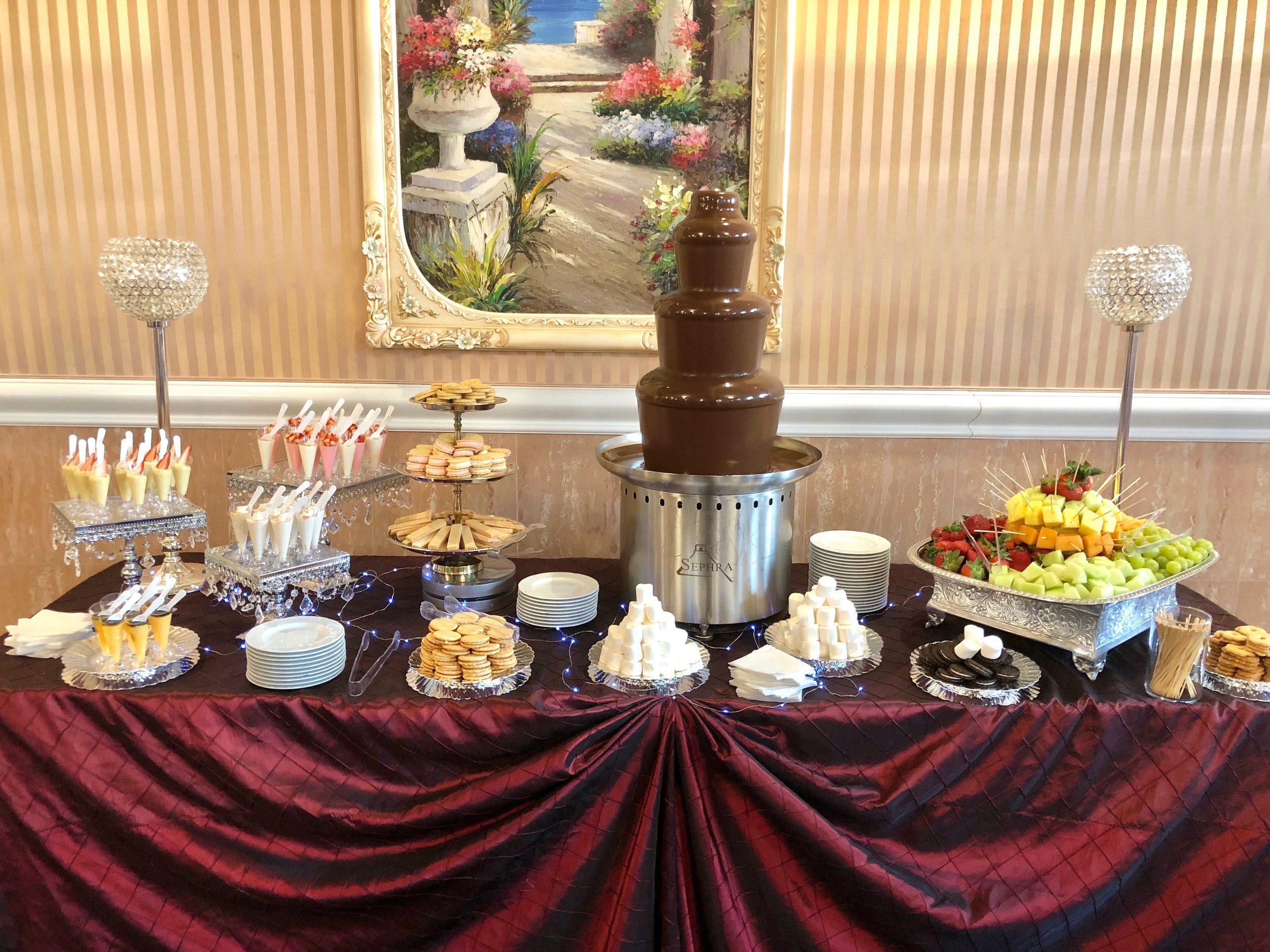 - Rich Chocolate Fountain, fresh fruit platter, marshmallows, wafers, cookies, etc., for one hour of your event.