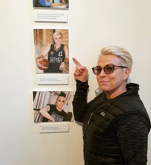 Sydney Spectres President, Jane Ubrien having a ball at @aconnsw Our United Front: In Pictures exhibition. Photos by @nicolabaileyphoto @aconwomen 💜🏀🏳️‍🌈 . . . #gaysofdisney #gaysport #LGBTQ #basketball #lesbiansofinsta #sydney #lesbiansofsydney #baller