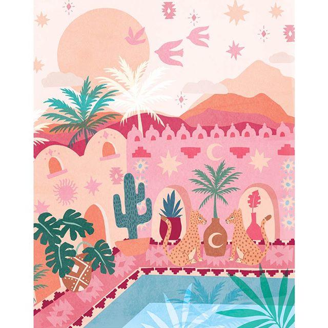 Dreaming of a desert escape? Let @corinnelent take you far, far away!  We love Corinne's style 🌺🐆 #pinklightstudio #art #artlicensing #pinklightdesign #corinnelent #desertdream #scene #summer #vacation #cheetah