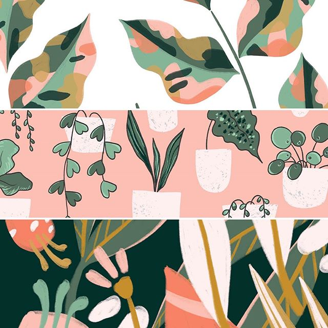 Crazy plant ladies...it's your time to shine! Loving these lush botanicals from @emmakisstina Urban Jungle collection! 🌻🎍🌿 #pinklightstudio #art #artlicensing #emmakristina #kristinahultkrantz #surfacedesign #patterndesign #floralpattern #plantlady #crazyplantlady #pottedplants #succulents
