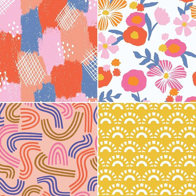 Keep those good vibes coming! We love these retro inspired patterns from @taylorshannon_ 's Good Vibes collection! ✌🏼✌🏼 #pinklightstudio #art #artlicensing #taylorshannon #surfacedesign #patterndesign #retro #retropatterns #goodvibes #bohobabe #florals #sunshine #abstractpattern #90s #70s #60s #retrofabric #pinklightdesign