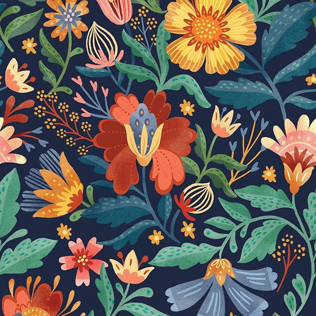 Absolutely gorgeous autumn florals from @natalie_miles ! We love her deep colors and stylized botanicals 🌹🌼🌺 #pinklightstudio #artlicensing #art #nataliemiles #patterndesign #surfacedesign #floral #floralpattern #traditionalfloral #fallfloral #pinklightdesign