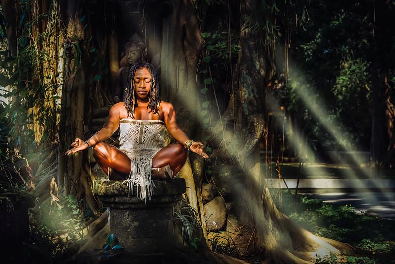 Universal Empress Yoga Teacher Nadine McNeil Meditating in Ubud Bali