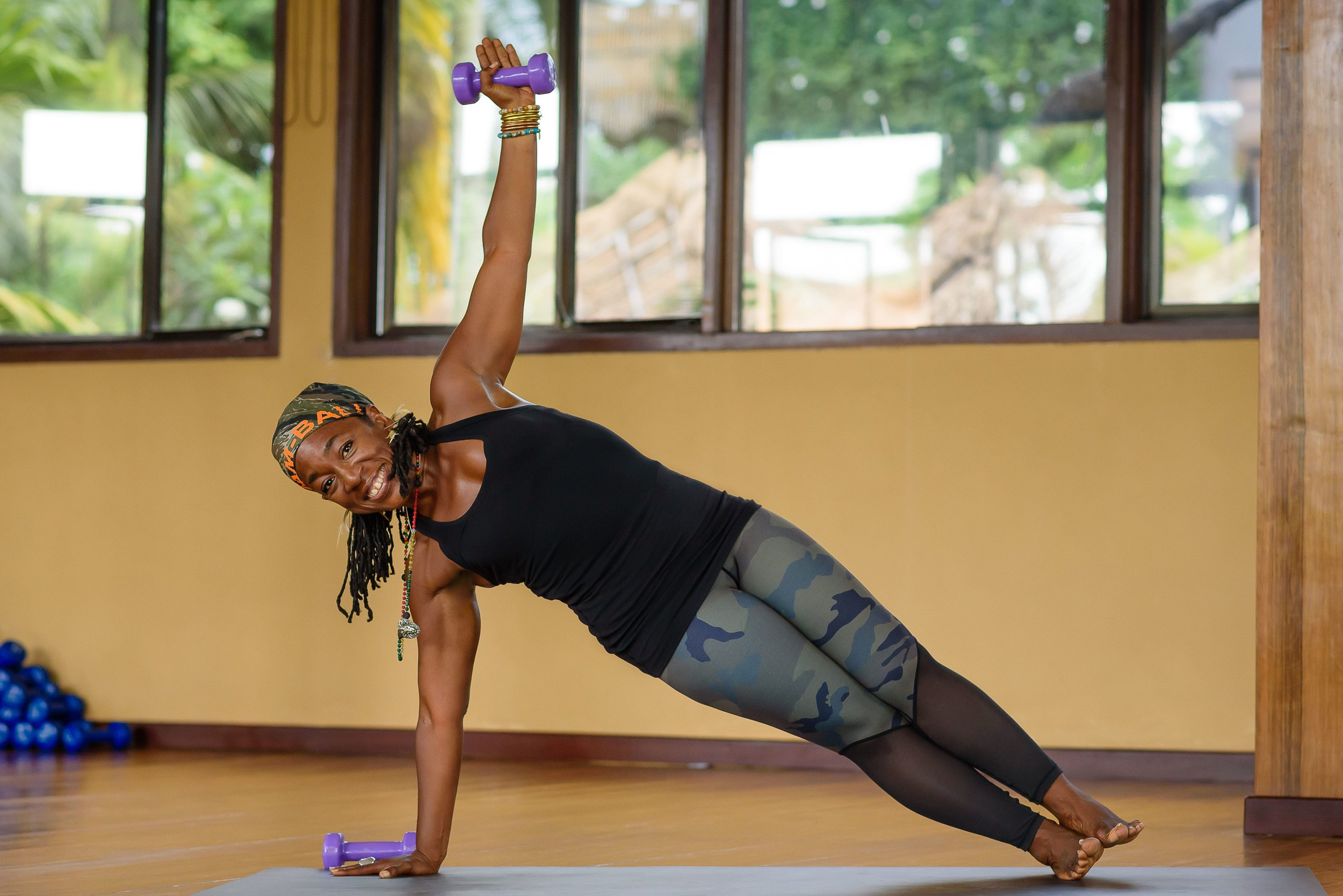 Nadine McNeil Yoga with weights teacher Ubud Bali