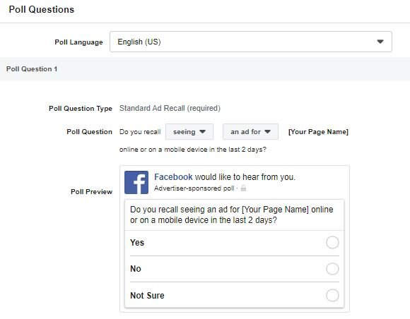 Example of a brand survey.  Credit:  Facebook Ads Manager