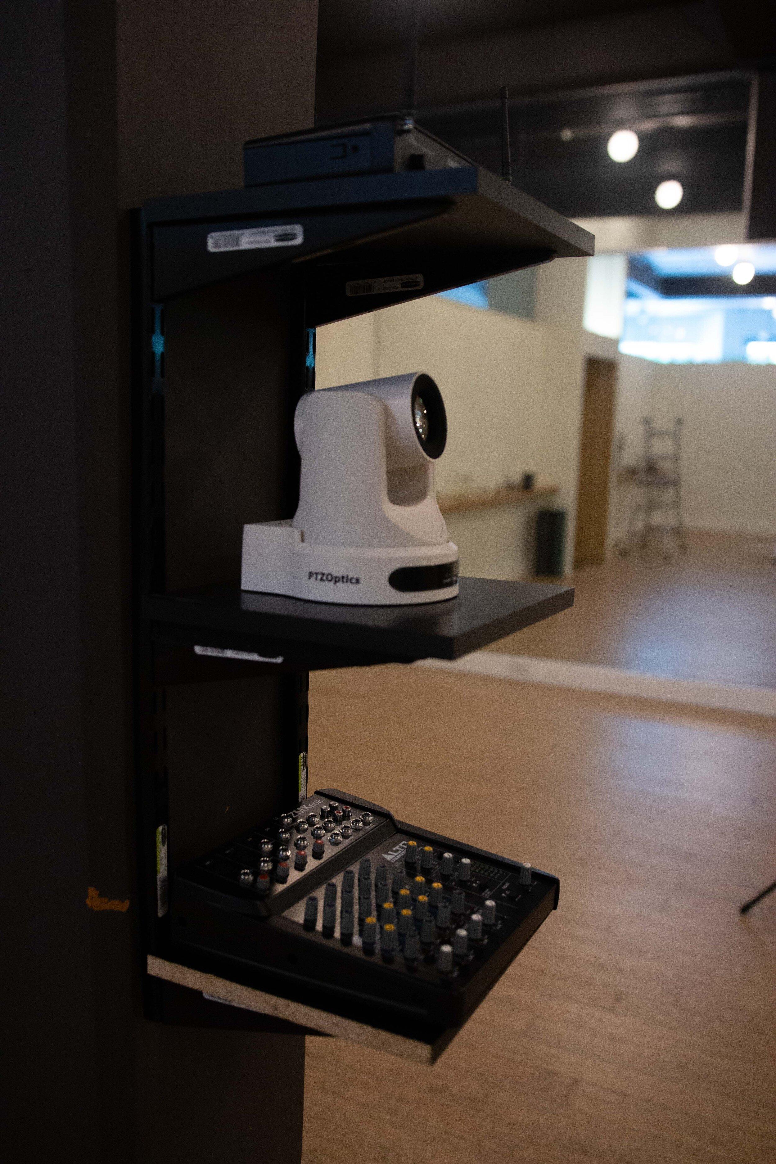 The live-streaming production enclosure at BFREE Yoga.