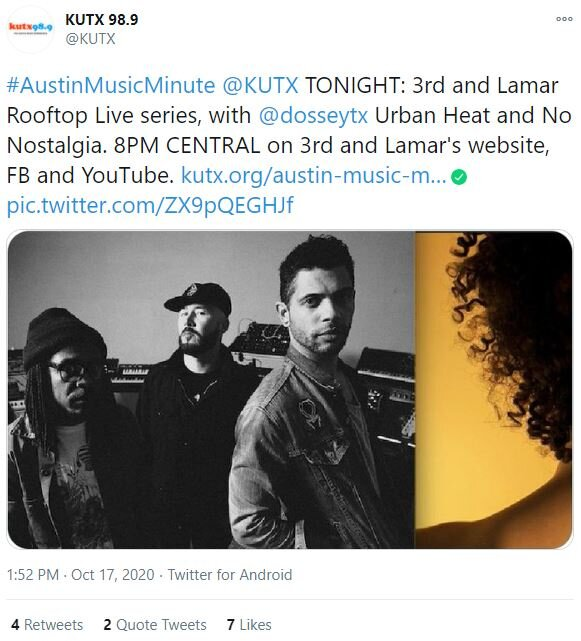 This is a good example of PR. KUTX  radio station tweeted about 3rd & Lamar's Rooftop Live before the show Oct. 17.