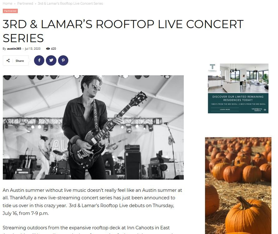 It's important to reach audiences outside of your network. In this example, 365 Things Austin promotes 3rd & Lamar's  Rooftop Live on their site.