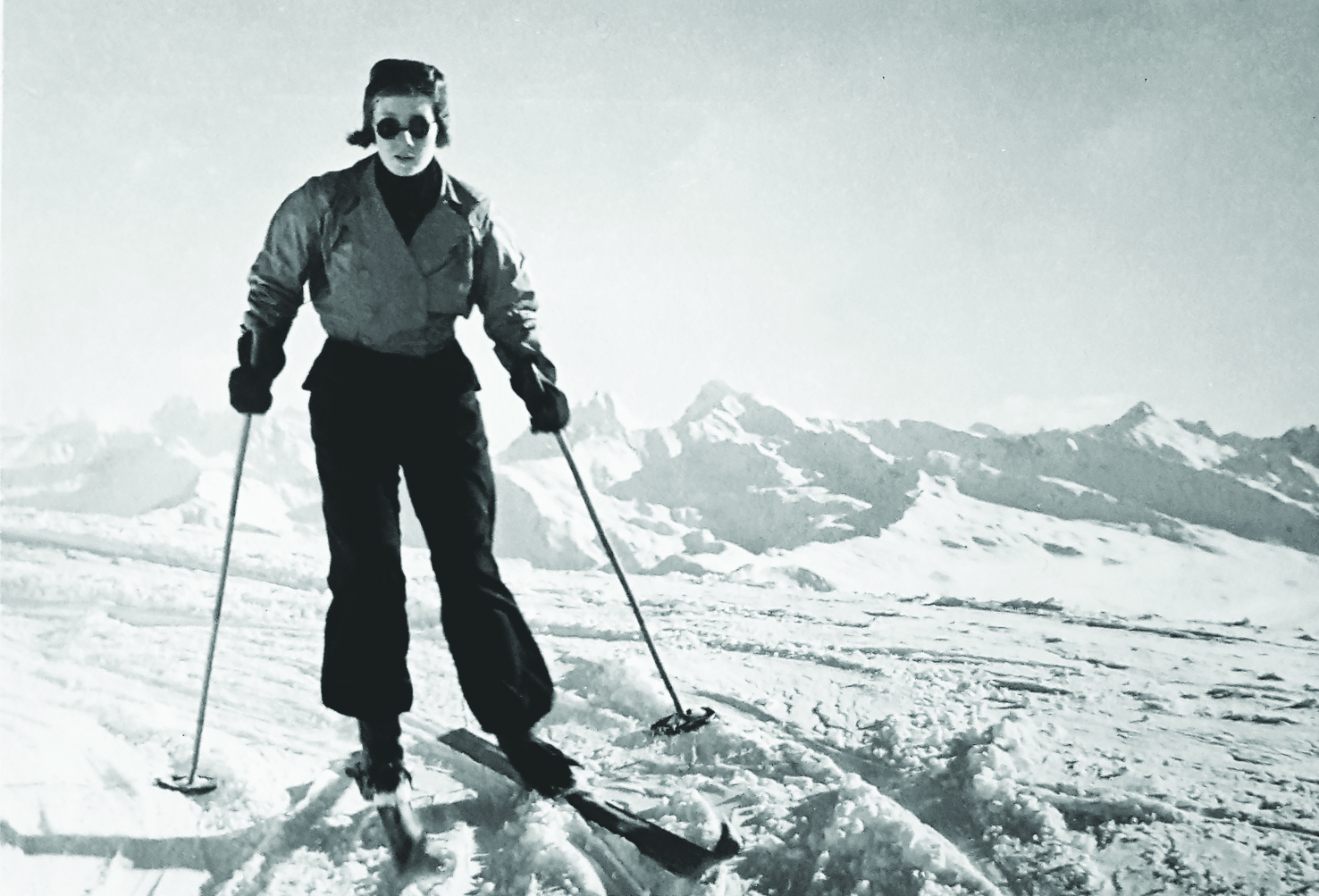 Mabey Ski_Granny Penny Skiing on a glacier aged 15 1938_Nickies Grandmother - Fathers Side.jpg