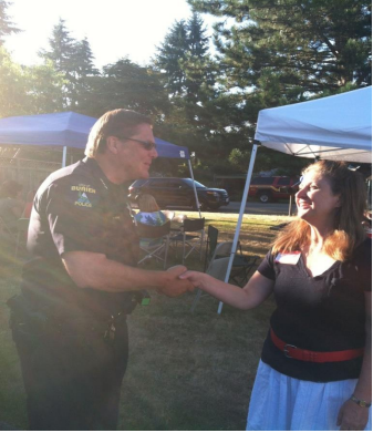 Neighborhood Night Out Block Watch Picnic with former Burien police Chief Kimerer.
