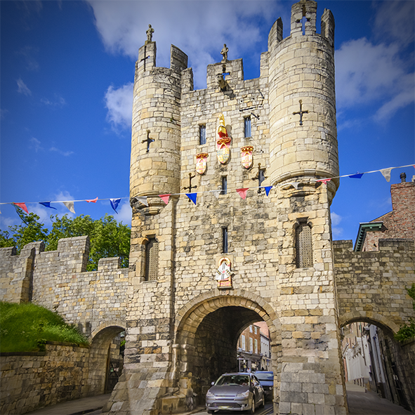Micklegate Bar from outside the city walls.