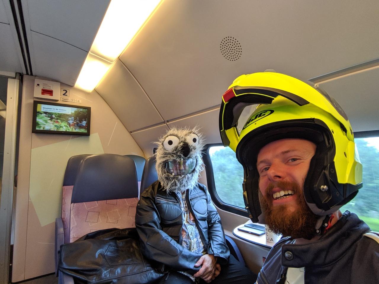 Tony and I in the train heading to Helmond.