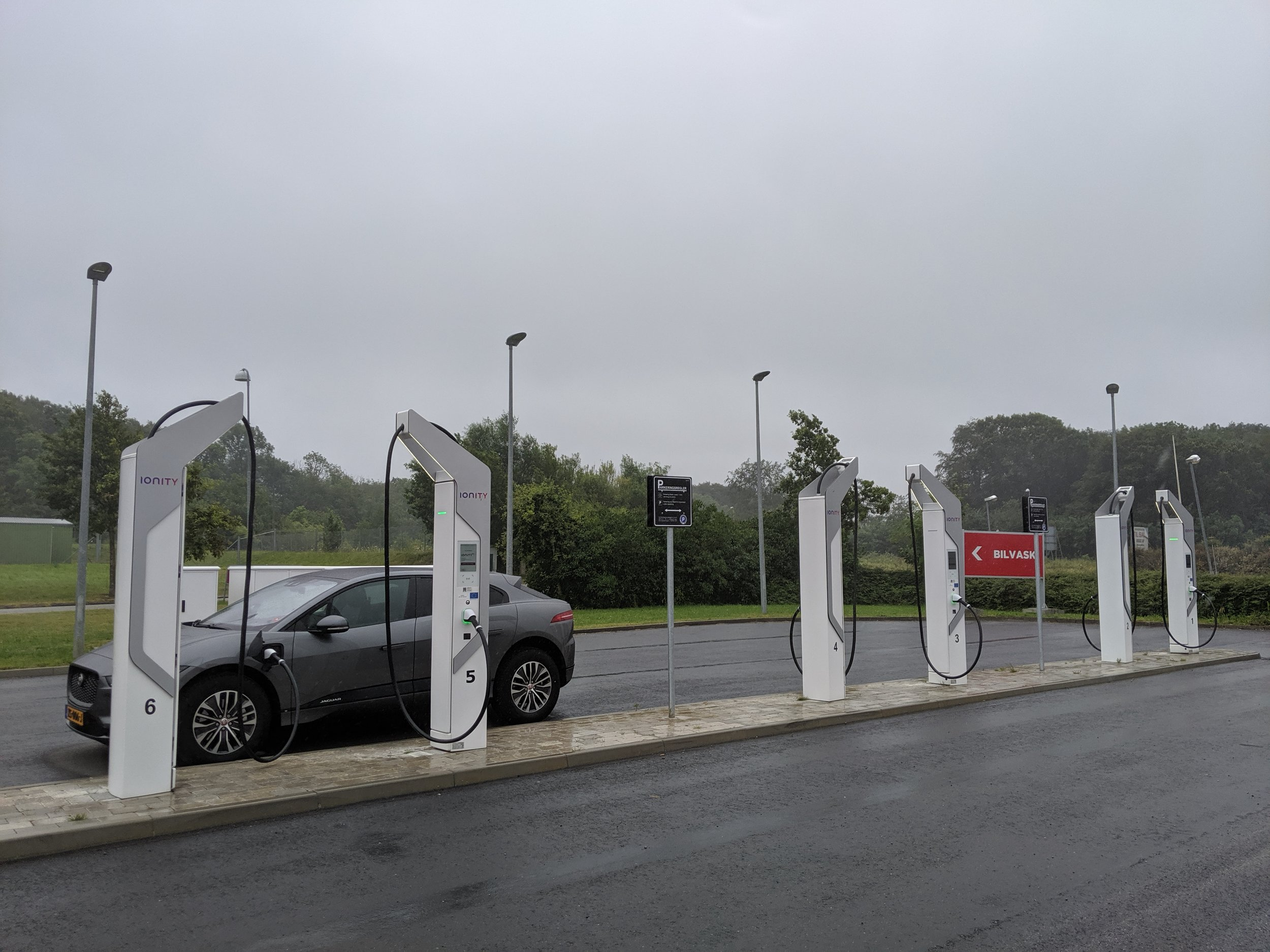 The Ionity chargers at Aabenraa, Denmark. No big friendship with the I-Pace just yet. More updates!