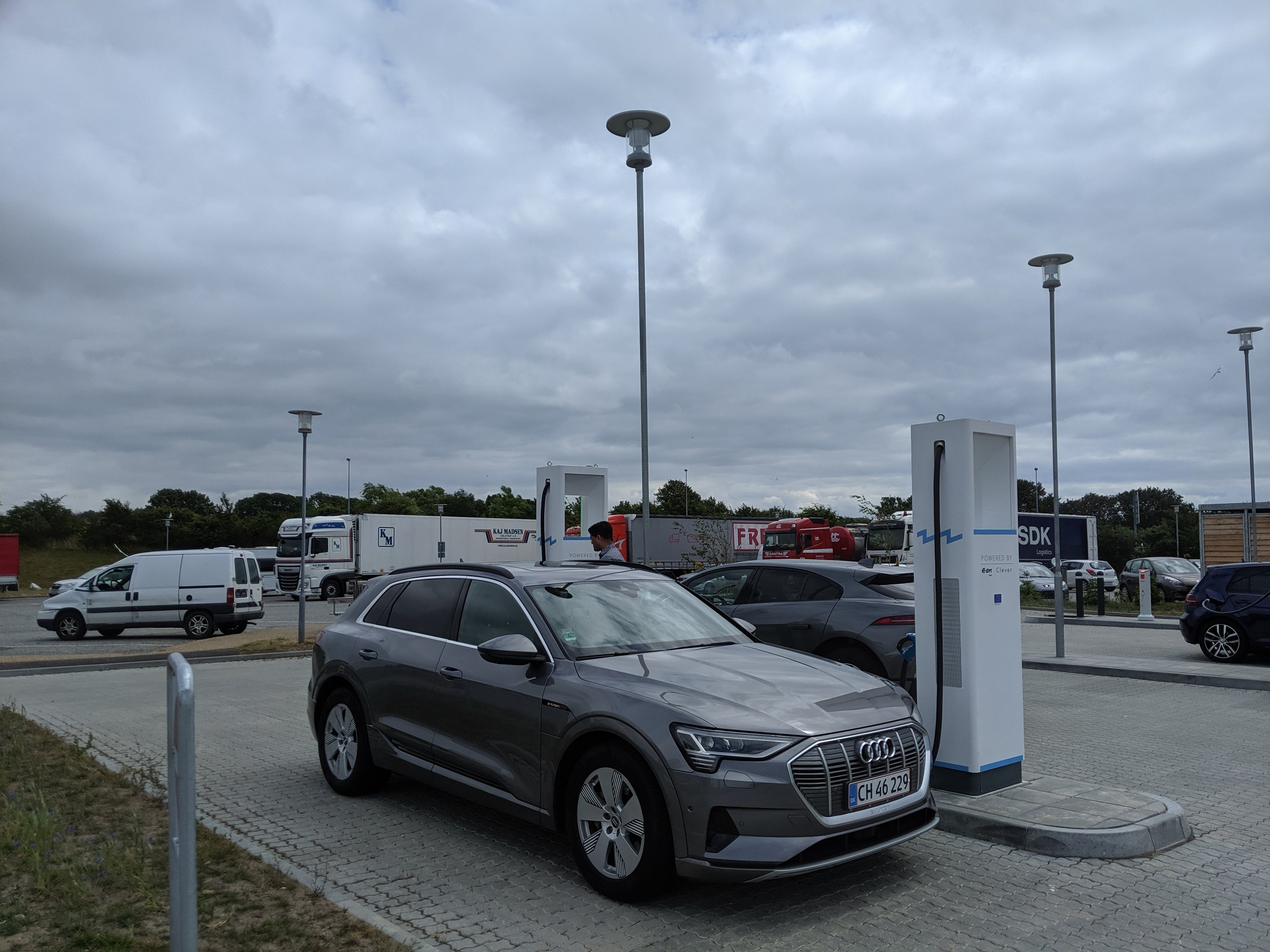 Yes, the e-tron charging up for free too! Only one charger available!  Charger near Halsskov, DK .