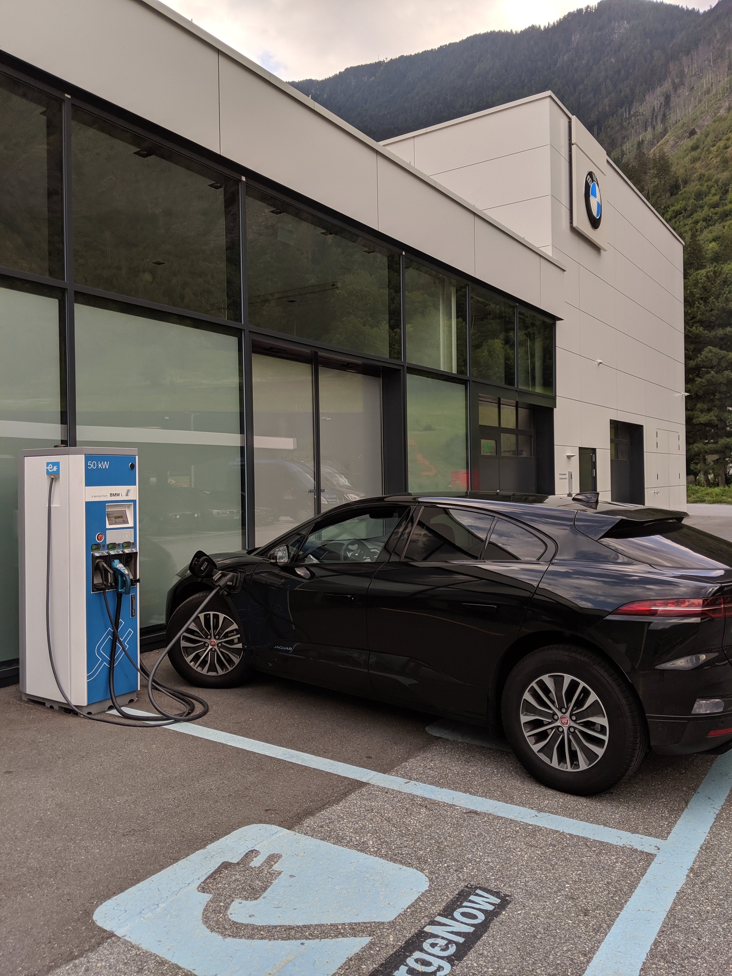 Charging up before heading home (to lower the cost of electricity at the house we're staying at).  ACW Visp .