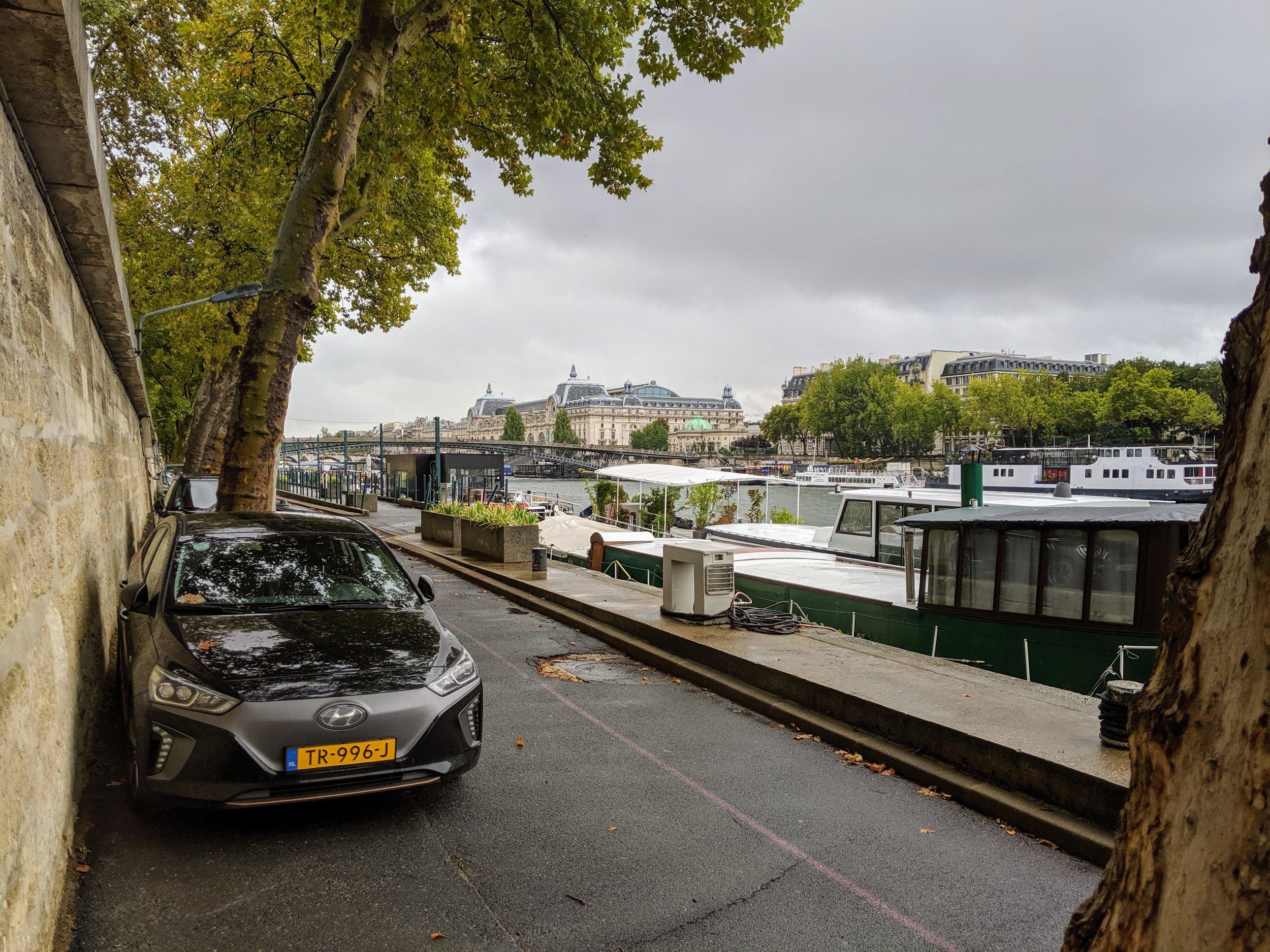 My favourite parking spot in Paris, next to the Seine.