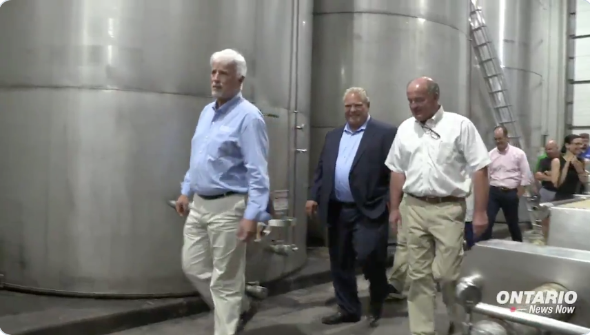 Premier    Doug Ford   , PC MPP    Rick Nicholls    and Pelee's president    Walter Schmoranz    tour Pelee Island Winery in a recent Ontario News Now video.