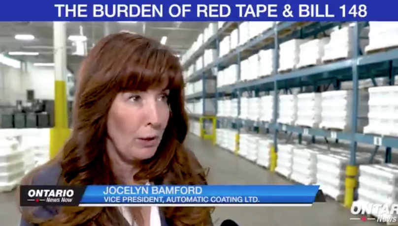 """In October 2018, Automatic Coating Ltd. vice-president and Ontario PC Party donor Jocelyn Bamford told ONN her company """"very much"""" supports """"the direction of the Ontario government."""""""