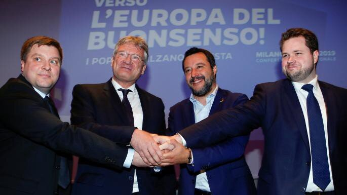 Olli Kotro, leader of the Finns Party, Jörg Meuthen from the AfD, Matteo Salvini, head of the League in Italy, and Anders Vistisen, the Danish People's Party leader, in Milan — REUTERS