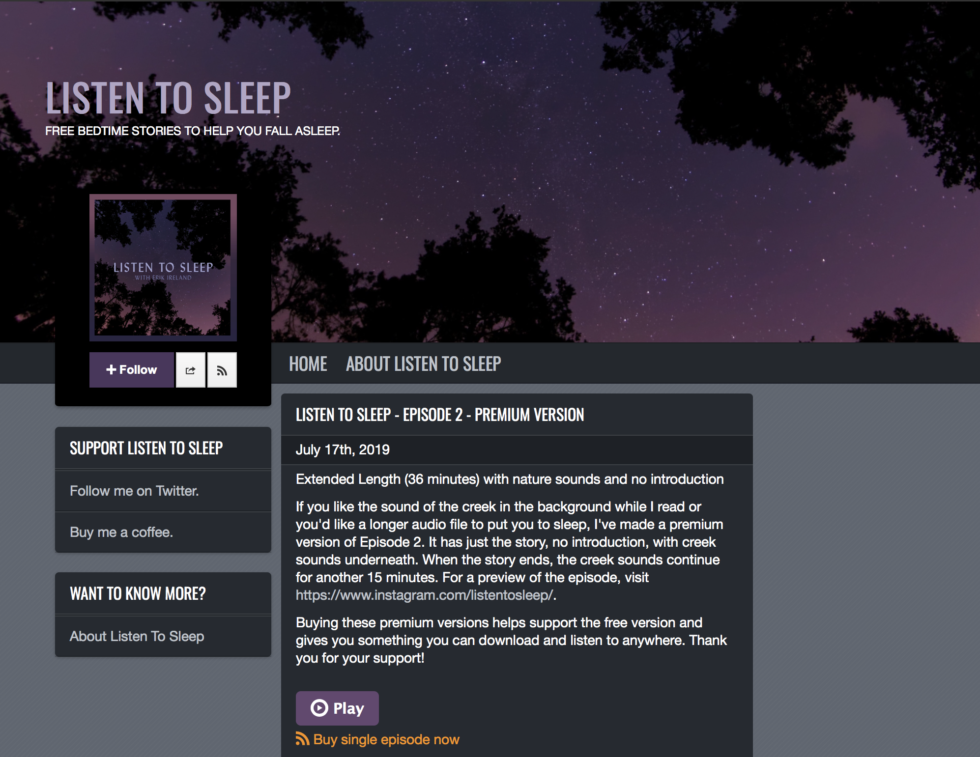 The podbean site for Listen To Sleep