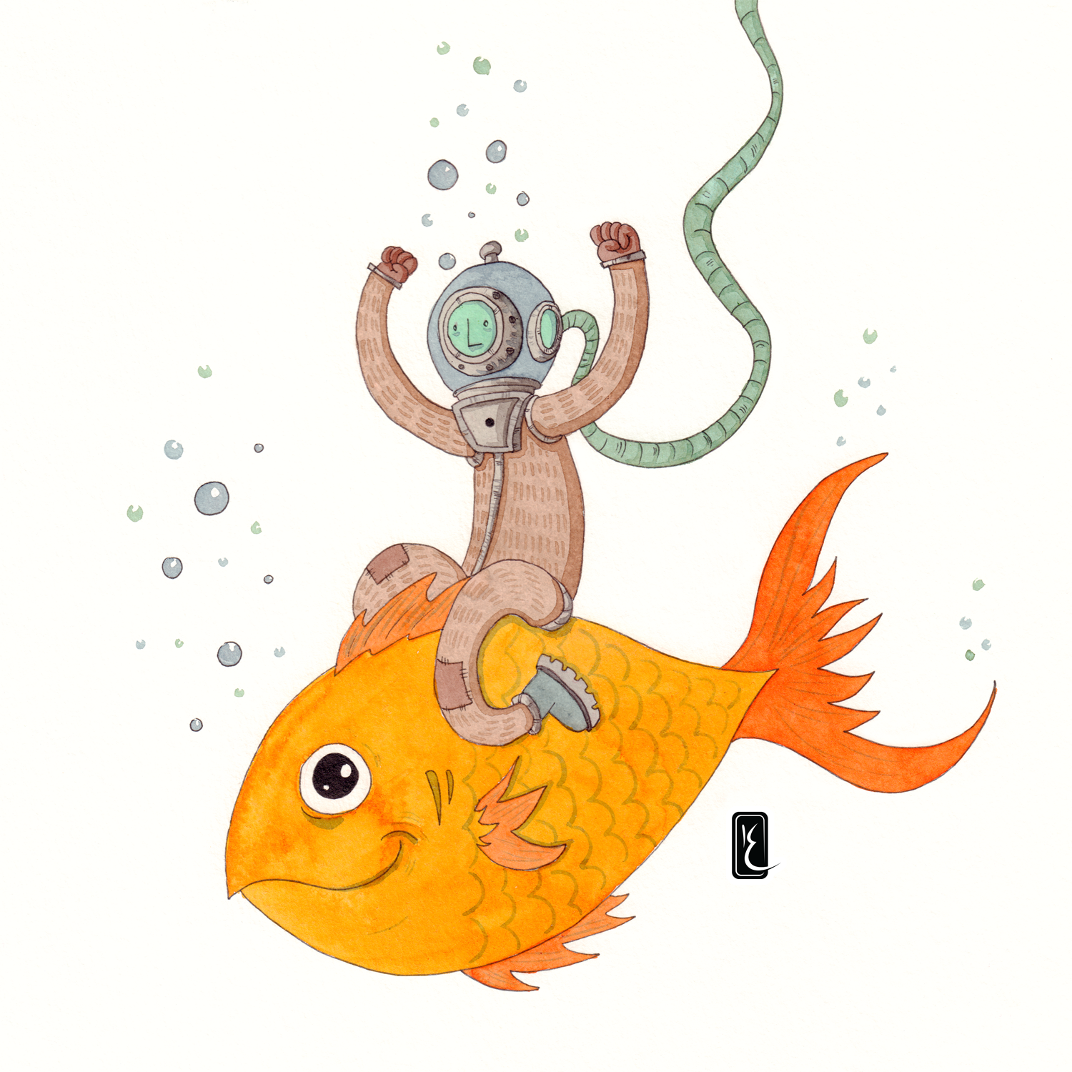 009-riding-fish-30cm-paper-ink-and-aquarel-by-Kevin-Foeshel-Lauryssen.png
