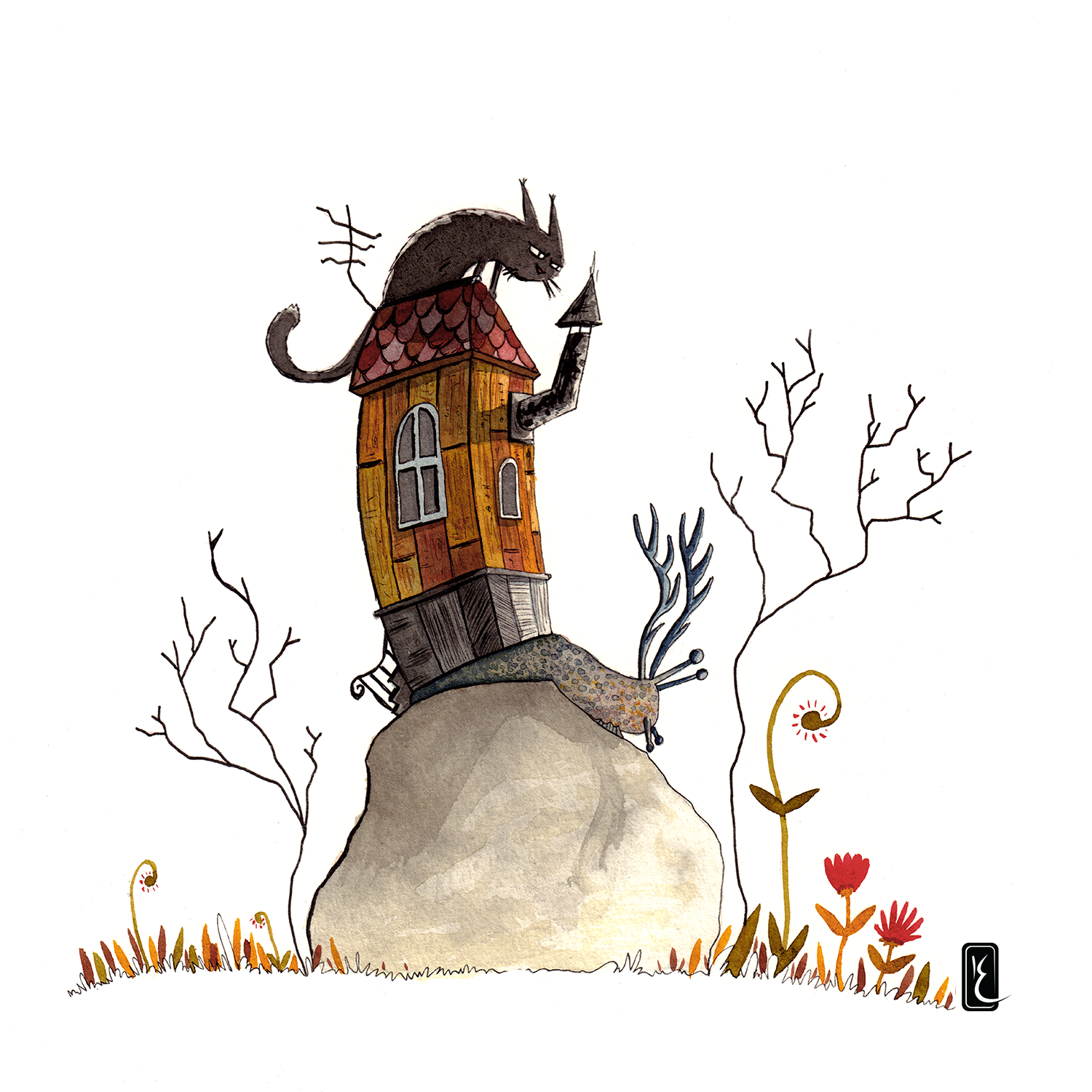 014-cat-house-30cm-paper-ink-and-aquarel-by-Kevin-Foeshel-Lauryssen.png