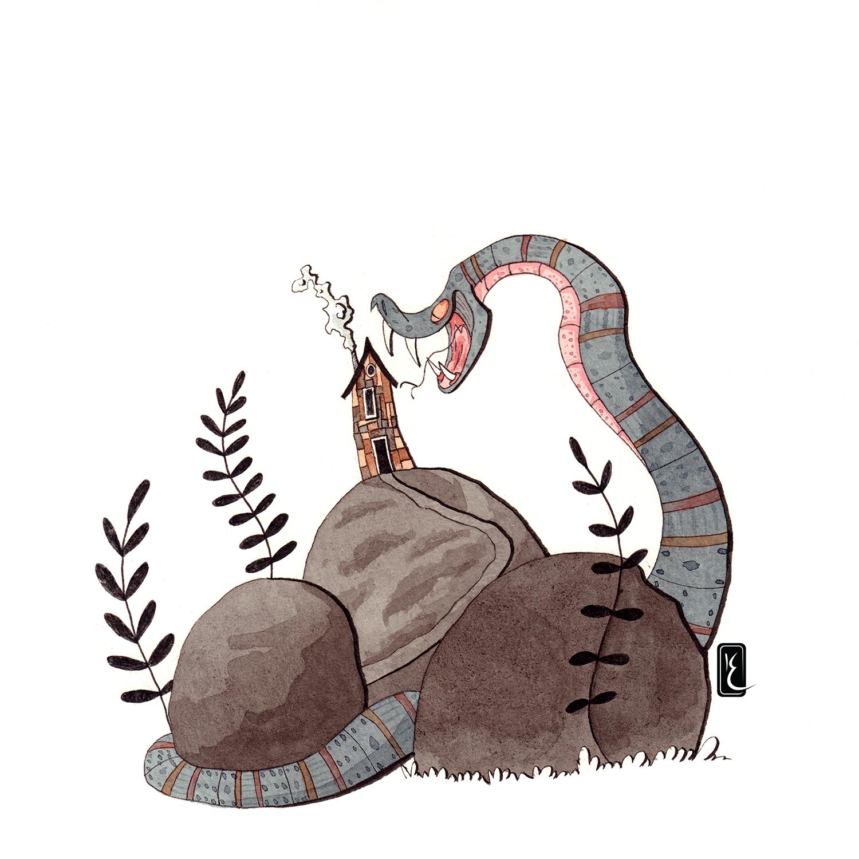 015-snake-30cm-paper-ink-and-aquarel-by-Kevin-Foeshel-Lauryssen.png