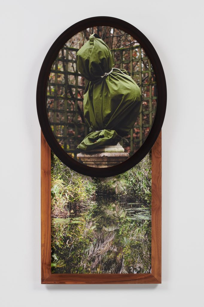 Hoods in the Garden , 2019  Two archival pigment prints in artist's frames and found frames, UV laminate