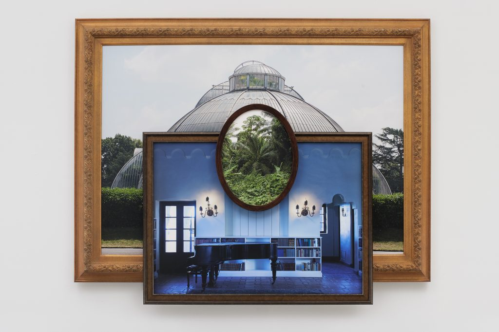 Palm House Blues,  2019  Three archival pigment prints in artist's frames and found frames, UV laminate // 47 1/4 x 60 x 3 3/4 in