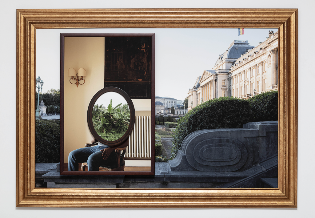 Onimiso  I  Leopold,  2019  Three archival pigment prints in artist's frames and found frames, UV laminate // 39 1/4 x 56 x 3 in