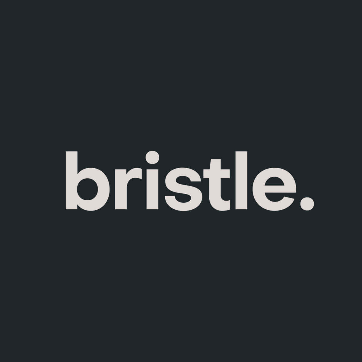 "Simple wordmark - Bristle's wordmark is clean and modern. The two ""dots"" from the lowercase i and period represent pesky facial hair and stubble."