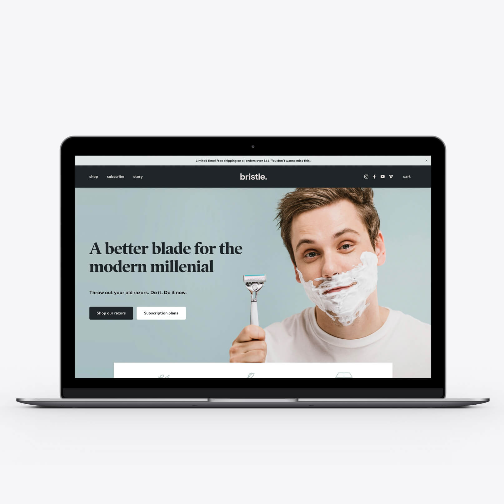 Online Store - Bristle's positioning as a millennial brand guided our design process with their clean, simple, and straightforward website. Sophisticated typefaces and a calming color palette embodied each of their razors' benefits—smooth, soft, and good-looking.