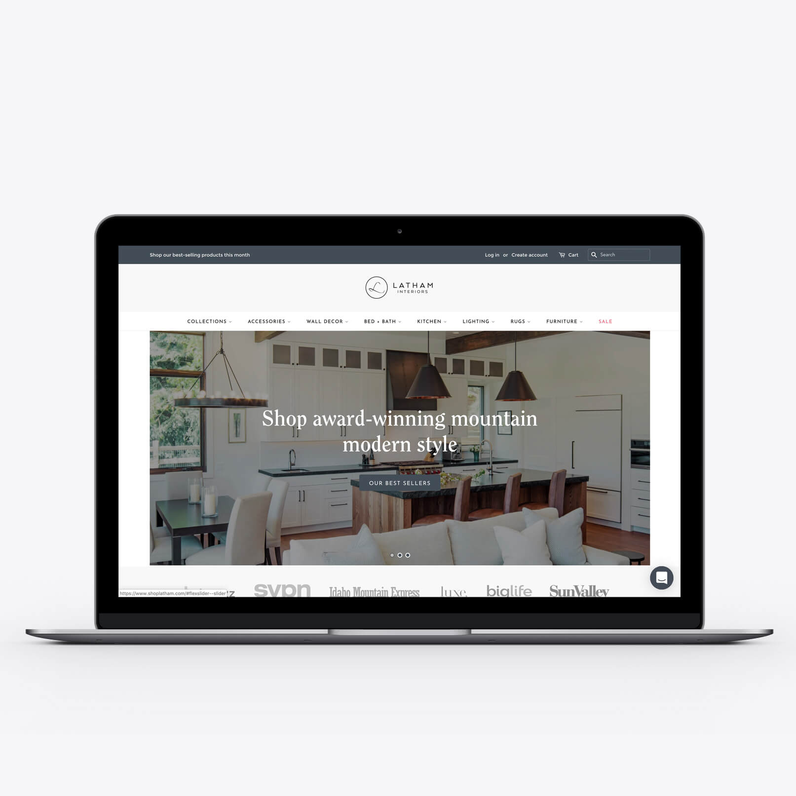 Shopify redesign - The Latham Interiors online store brought together modern, natural typefaces and a sophisticated color palette.