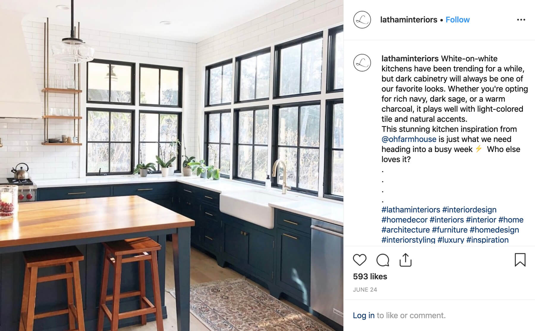 Discovery - 217x increase in impressionsWe curated a rotating set of algorithm-tested hashtags for maximizing Latham Interiors' reach on Instagram. With the right strategy, we were able to increase hashtag impressions from 60 to 14,000.