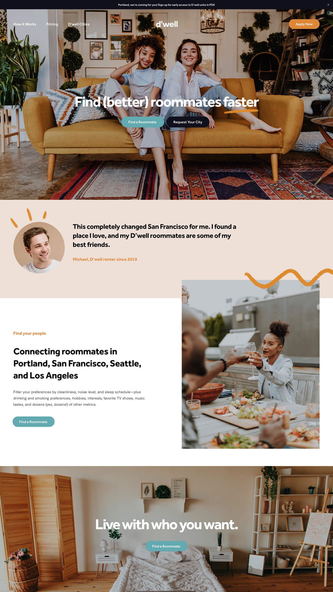 Landing Page - Playful illustrations, quirky colors, and social imagery told the D'well story, with prominent call-to-actions encouraging signups throughout the site.