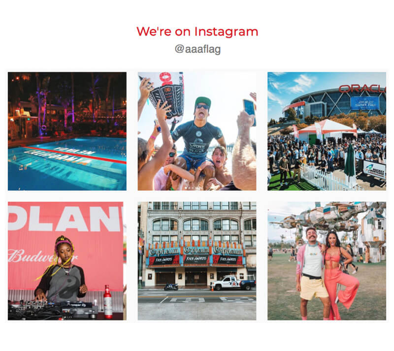 Instagram feature - Included in the footer of every email is a link to AAA Flag & Banner's Instagram profile. Not only is this the most clicked link embedded in every newsletter, AAA's Instagram presence is one of the largest in their industry.