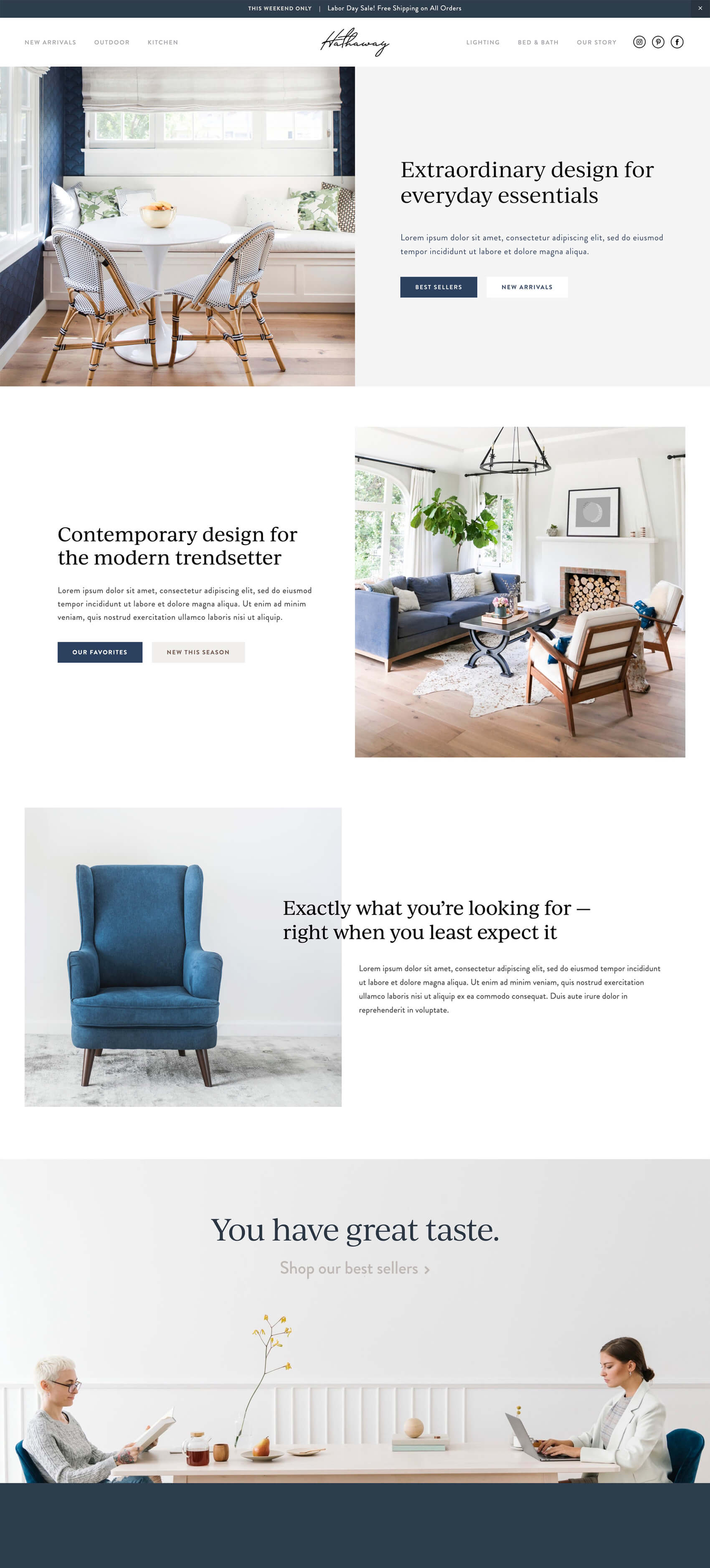 Landing Page - Hathaway's editorial-style landing page is inspired by clean lines and a modern magazine layout.