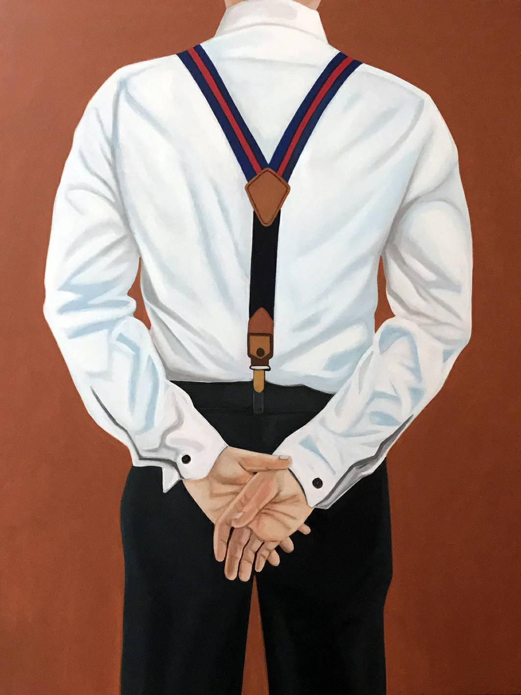 Self Portrait with Suspenders, Oil on canvas, 120 x 90 cm, 2019