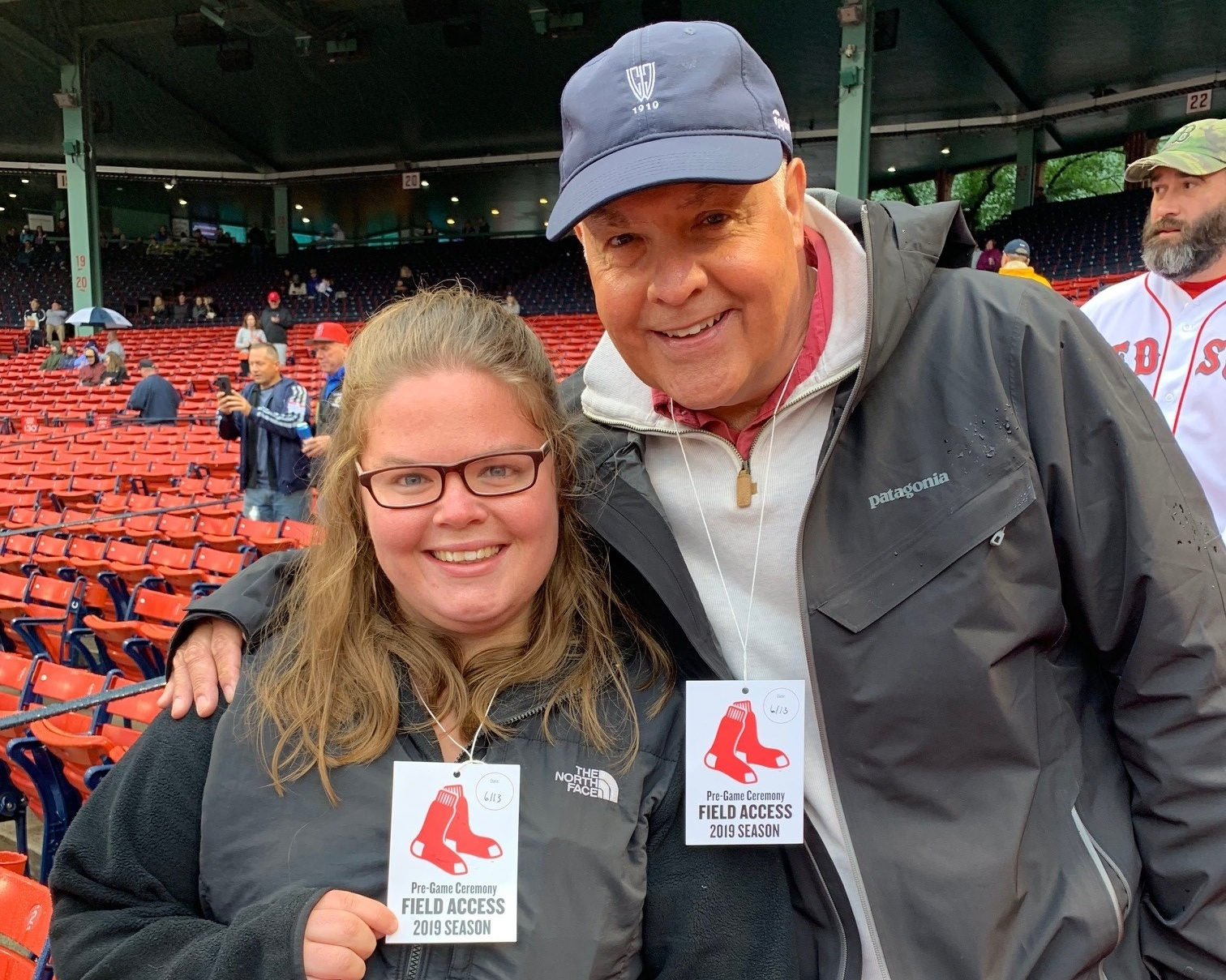 A DDP family at a Red Sox game with VIP access, provided by CFCS.