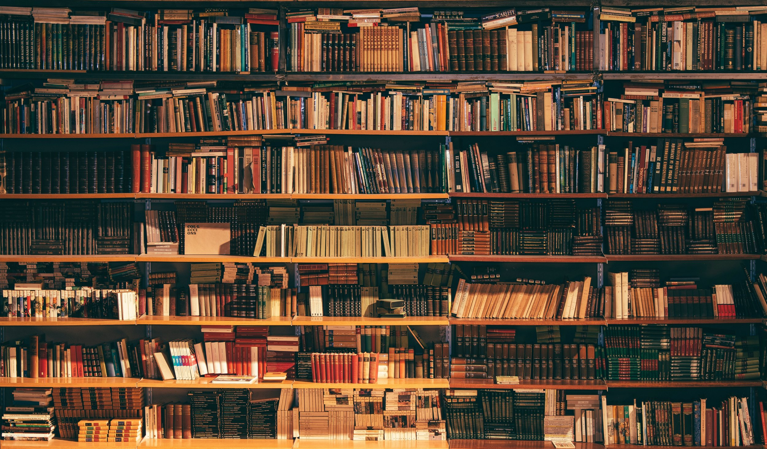 Picture is of a large bookcase full of books.