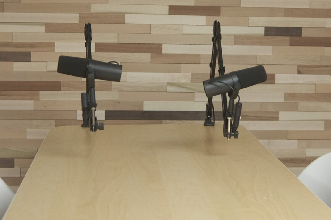 3D Wood wall with 2 Microphones (Shure SM7B)