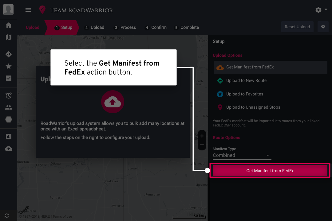 - Select the Get Manifest action button to start the uploading process.